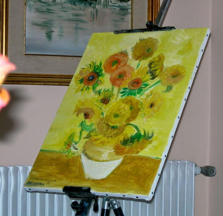 "Dipinto ad olio - ""Interpretazione 14 girasoli di Van Gogh"" - 2006 Arianna Marangonzin"