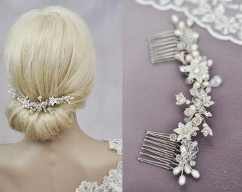 Braut Haarschmuck Haarranke echte Perlen von MimiPrincess auf Etsy