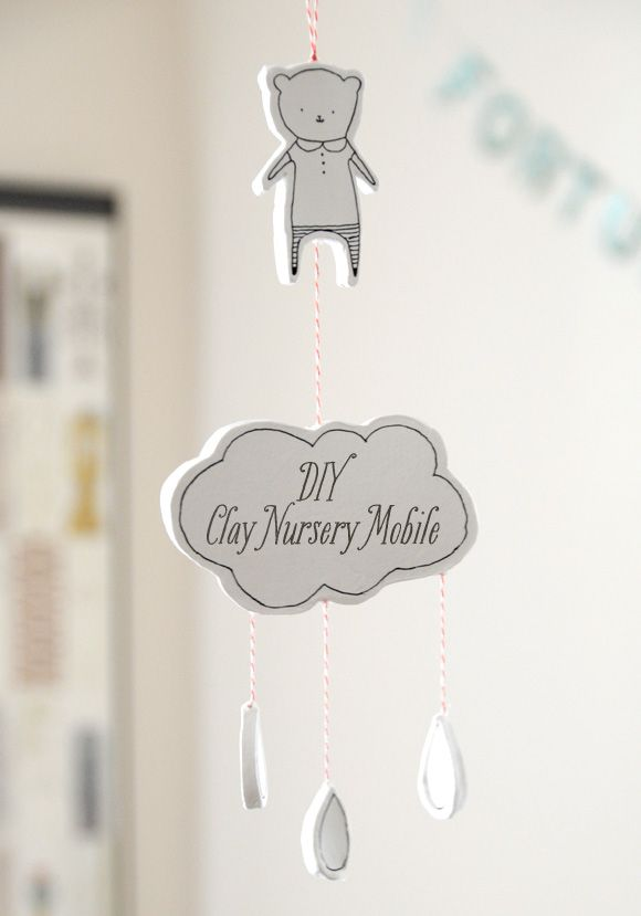 DIY Clay Nursery Mobile or Wall Hanging