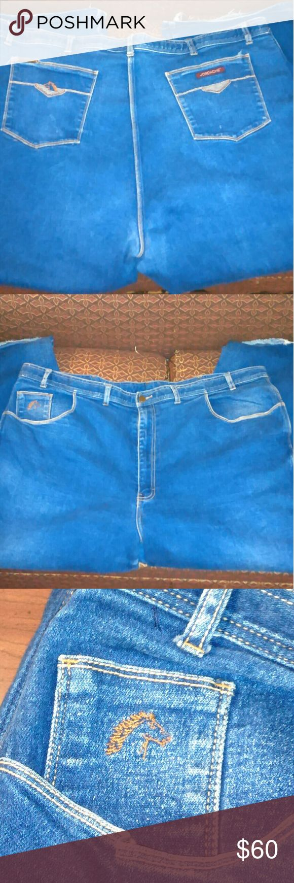 """VINTAGE JORDACHE WOMEN'S FULLER FIT JEANS 50X34 Vintage 80's Jordache Fuller Fit Women's Jeans Size 50x34. They are a Medium Wash, Front Button Fly Zipper with the Horse 🐎 Design on back left Pocket and Horse on Small Front Pocket with Distressed Bottom Cuffs. Rare Jeans in Good Condition and Hard to Find Size.  Approximate Measurements:  Size 50x34 Waist-24"""" Front Rise-16"""" Inseam-34"""" Thigh-14"""" Cuff-11"""" Jordache Jeans Straight Leg"""