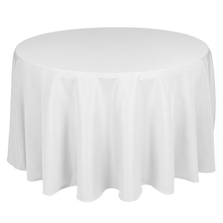 "purchase instead of rent 108"" Round Polyester White Tablecloth"