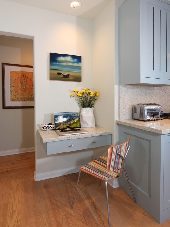 20 clever ideas to design a functional office in your kitchen - Small Desk Ideas