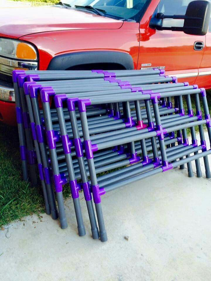 Corral panels made from pvc pipe, held together with elastic/rubber ties