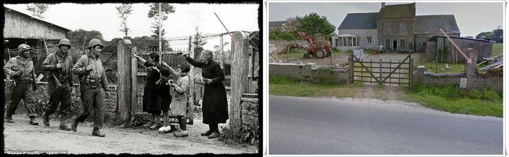 Quattro membri femminili di una famiglia Normanna stanno vicino al cancello della loro fattoria per salutare i soldati statunitensi passati il 7 giugno 1944. Questa fotografia è stata scattata nel piccolo borgo di Le Guay a soli 500 metri ad est della strada che conduceva a Pointe Du Hoc E i soldati stanno marciando su quello che oggi è conosciuto come il D514 in direzione di Grandcamp-Maisy.  #NORMANDIA1944