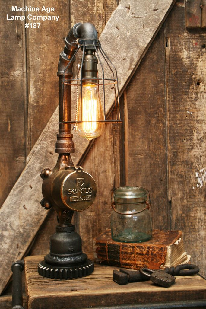 Steampunk Lamp, Antique Water Meter and Gear Base #187