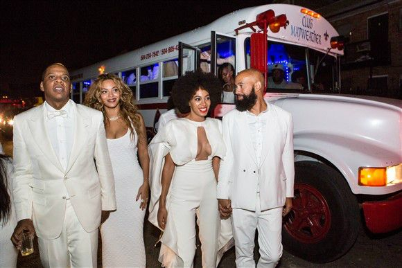 Jay-Z, Beyonce Knowles, Solange Knowles and her new husband, music video director Alan Ferguson, attend the second line parade in New Orleans following their wedding on Nov. 16, 2014.