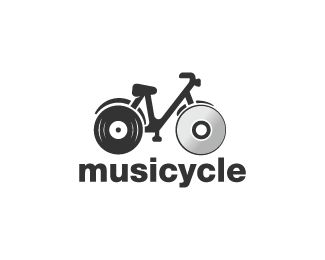 Musicycle Logo design - Logo design of  a bicycle with the wheels shaped like a vinyl and a dvd.  Price $260.00