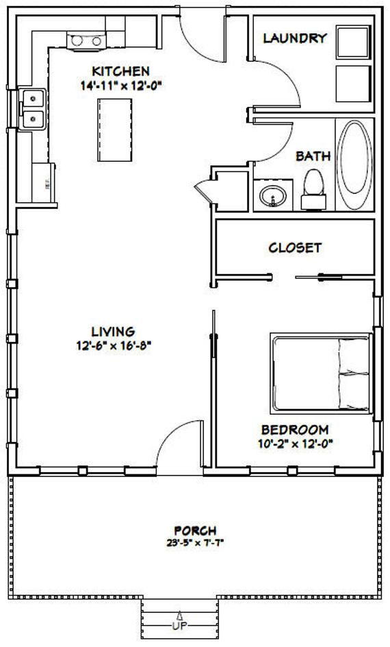 24x30 House 1 Bedroom 1 Bath 720 Sq Ft Pdf Floor Plan Etsy In 2020 Garage House Plans Tiny House Floor Plans Tiny House Plans