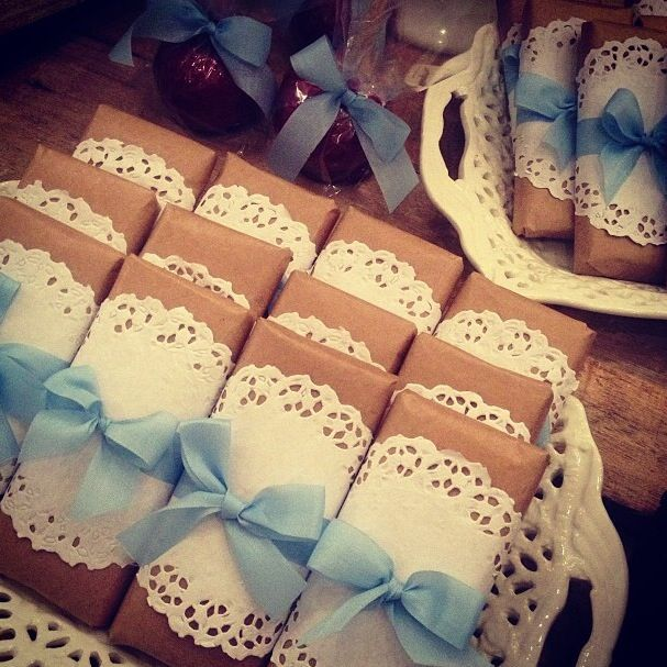 Baby Boy Blue Themed Baby Shower We could wrap books as our favors like this.