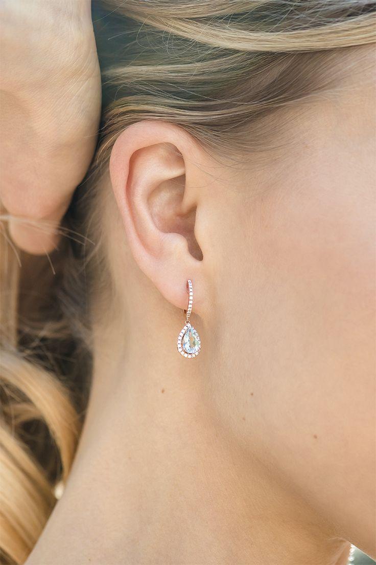 Pear-Shaped Aquamarine and Diamond Dangle Earrings