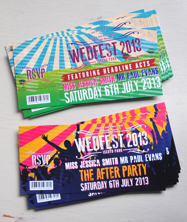Festival Wedding Invitations - Access Passes