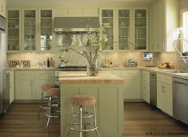 Sage Green Kitchen With White Appliances