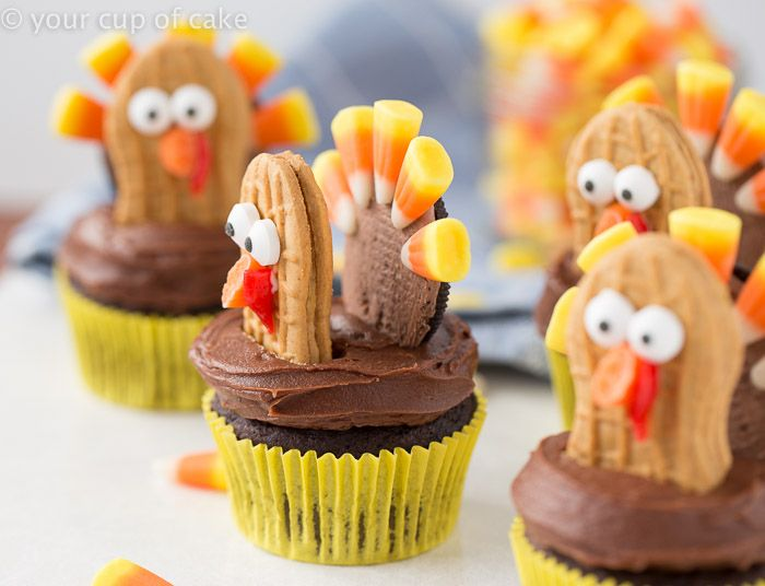 Check out turkey cupcakes it 39 s so easy to make butter for Decorations for thanksgiving cupcakes
