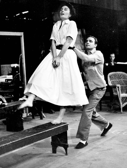 "Marlon Brando & Jean Simmons practicing on the set of ""Guys and Dolls"" (1955)."