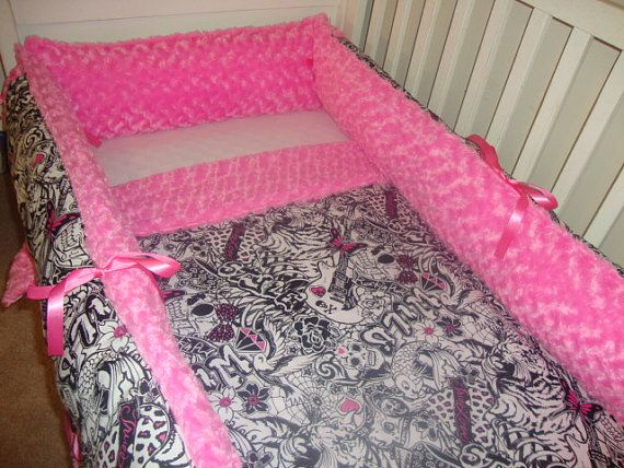 Pink schwarz Schädel Print Teen Bettwäsche