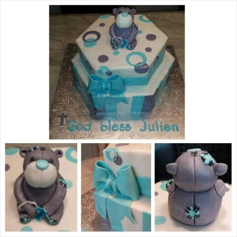 Anna's cake creations!   Two tiered boy's christening cake with fondant tattered teddy bear.