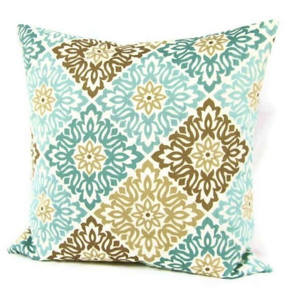 18x18 Throw Pillow Cover Teal Aqua Seafoam by GigglesOfDelight Geometric Home Decorative Floral Blue Brown Throw Pillow