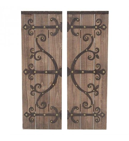 S_2 WOODEN_METAL WALL DECOR IN BROWN COLOR 31X3X92