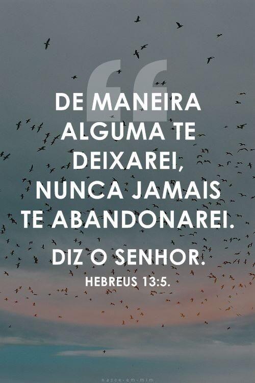 """""""Seja a vossa vida desprovida de avareza. Alegrai-vos com tudo o que possuís; porque Ele mesmo declarou: """"Por motivo algum te abandonarei, nunca jamais te desampararei"""". Hebreus 13:5"""