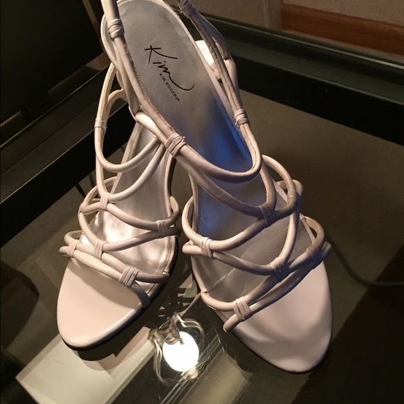 Kim Rogers 9 White Strappy Sandals W/Heel Nice Kim Rogers 9 White Strappy Sandals W/2' Heel Kim Rogers Shoes