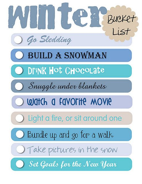 Winter Bucket List- free printable -- Now, if only I lived in a place where it snowed...Dilemmas!!