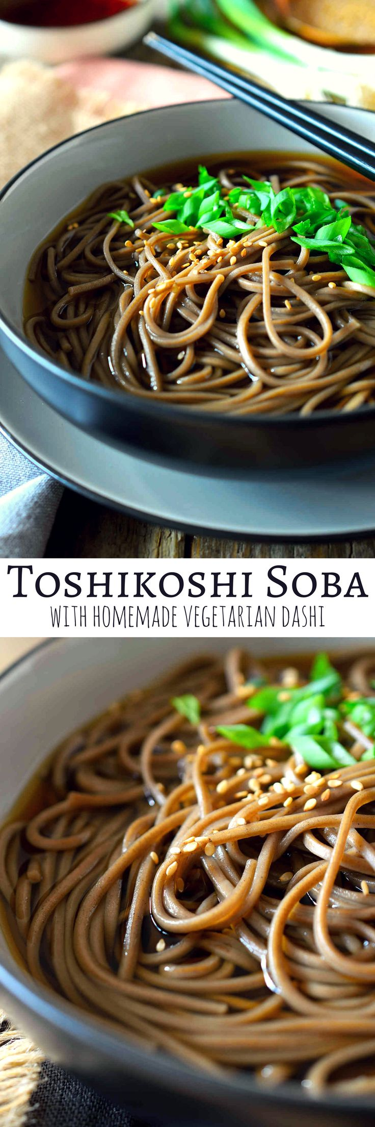 You don't need to wait until New Year's Eve to make this delicious toshikoshi soba recipe. This dish is extremely easy to make with just a simple and wonderful umami broth and nutty soba noodles. Sprinkle over some sesame seeds and chopped green onion for a bit of colour and crunch and you've got a lip-smacking, steaming bowl of soba noodle soup.