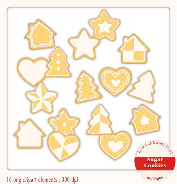 Christmas Sugar Cookies  Clipart  Digital by paper4download