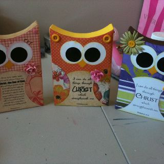Make these out of a 1x6 cut to different heights.  Do each owl in a different yw value color.  Write value on their tummy.  On back type up scripture and quote and printed on value color and glue it on.  So cute and easy!