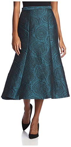 Bigio Women's Long Rosette Skirt, Teal, 6 US >>> For more information, visit