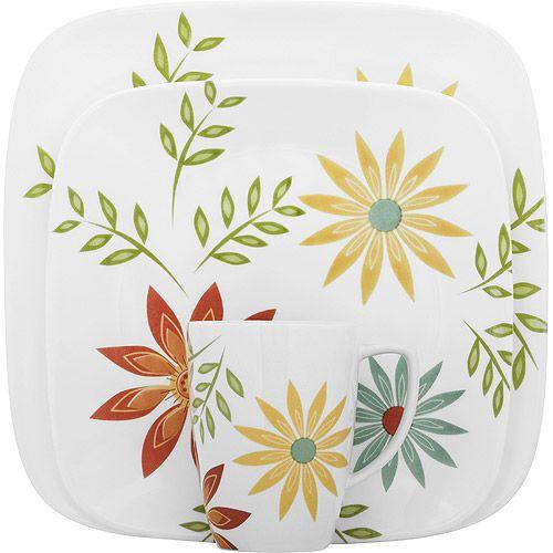 Corelle Squares Happy Days Lightweight 16-Piece Dinnerware Set - Walmart.com  sc 1 st  Pinterest & 338 best Corelle Dinnerware images on Pinterest | Corelle dishes ...