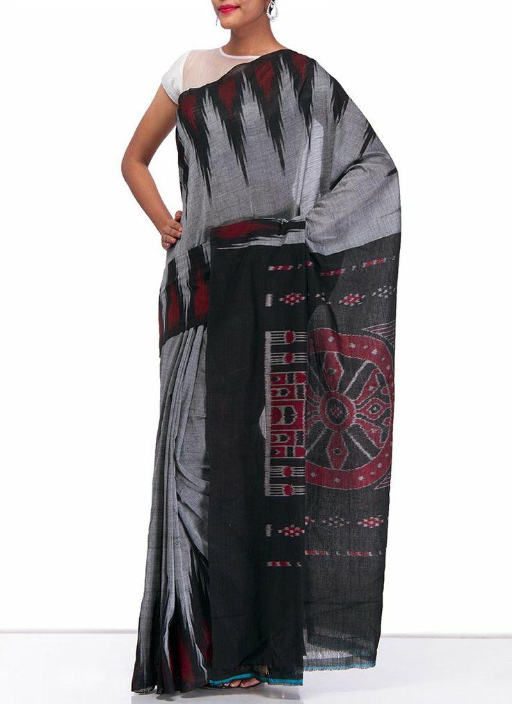 Grey Handloom #Ikkat #Cotton #Saree