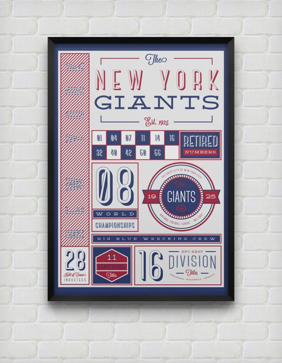 New York Giants Stats Print by DesignsByEJB on Etsy, $18.00