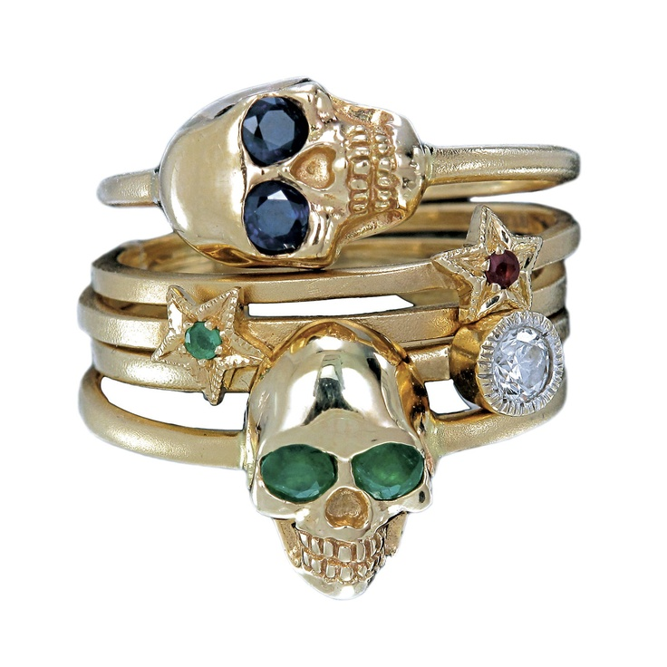 Zoe & Morgan - Skull Ring, in emerald and 9ct brushed yellow gold, £400
