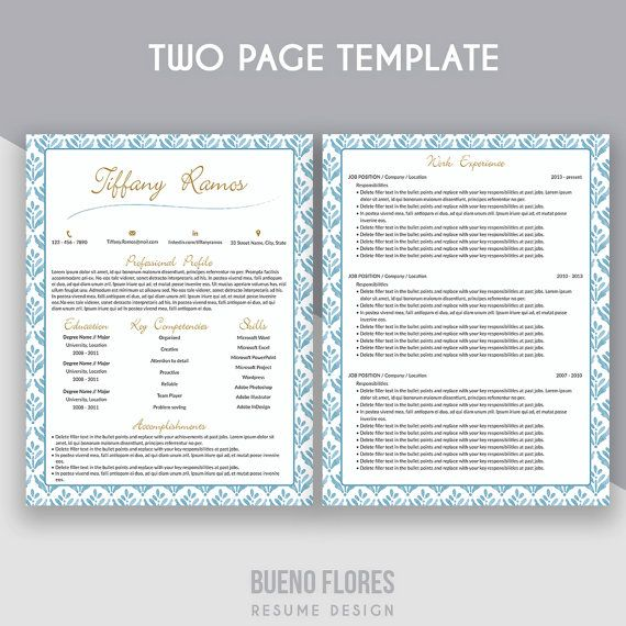 """Introducing """"Tiffany Ramos"""" version, an elegant feminine multipurpose CV design, which includes a two page resume/cv, matching cover letter, reference page and free login keeper"""