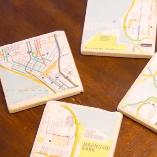 Making a map coaster is a fun project to do to commemorate all of your travels.