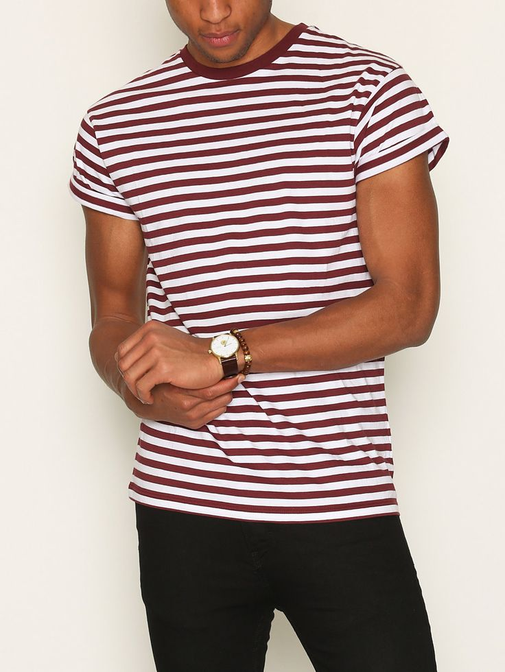 Burgundy Stripe Muscle Fit Roller T-Shirt