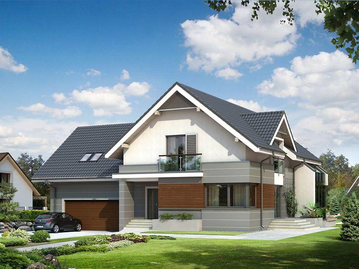 This home is modern but also so welcoming. Elewacja frontowa projektu Jaspis 6. By BIURO PROJEKTOWE MTM STYL