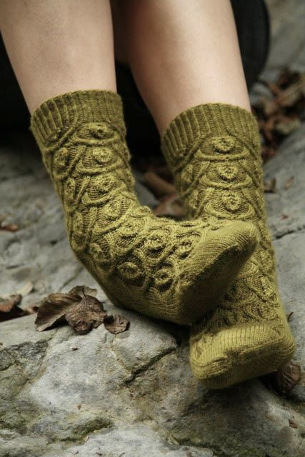mossy hand knitted socks