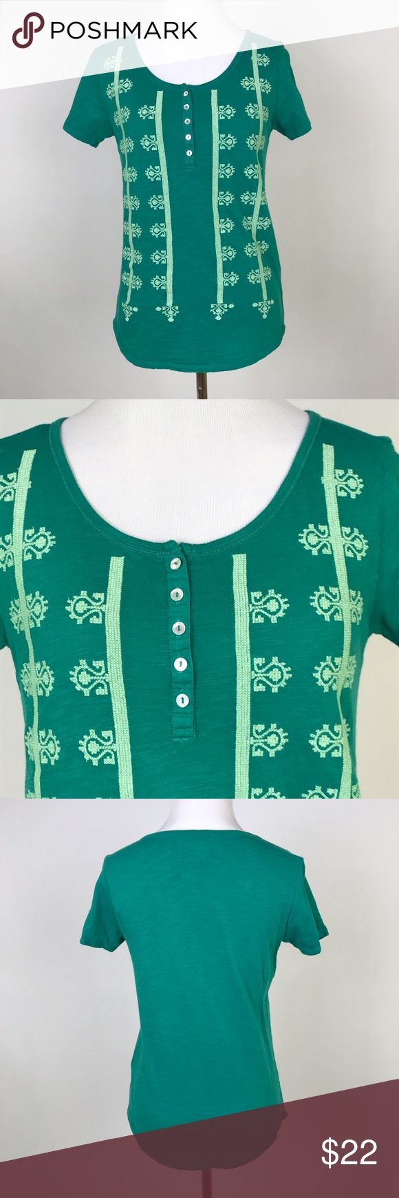 "[Lucky Brand] Embroidered Henley Top Green Boho S Green short sleeve top with henley button placket. Scoop neck. Curved hem. Embroidered on front.  🔹Pit to Pit: 16"" 🔹Length: 23"" 🔹Condition: Excellent pre-owned condition.  *U22 Lucky Brand Tops Tees - Short Sleeve"