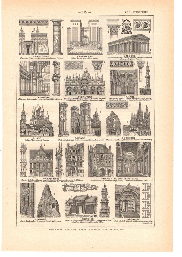 """Illustration vintage """"sépia """" Architecture"""" Dictionnaire Français  1930/ Digital download de la boutique SoPrettyJoliVintage sur Etsy"""