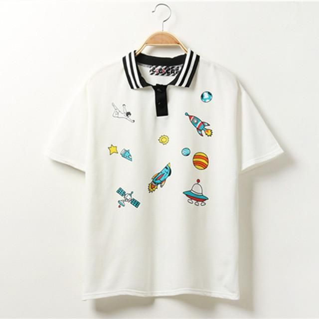 """Space Exploration Prints"" Kawaii Polo Shirt #polosshirtwomen"