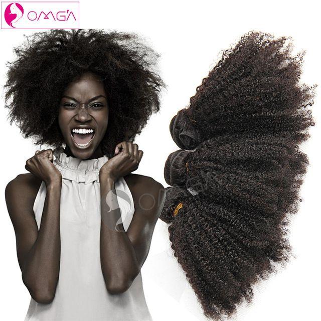 OMGA Brasilianische Afro Verworrenes Lockiges Reines Haar 3 Bundles Afro verworrene Lockige Menschenhaar Spinnt 1B 100 gr/teil Brasilianische Haarverlängerungen 7a