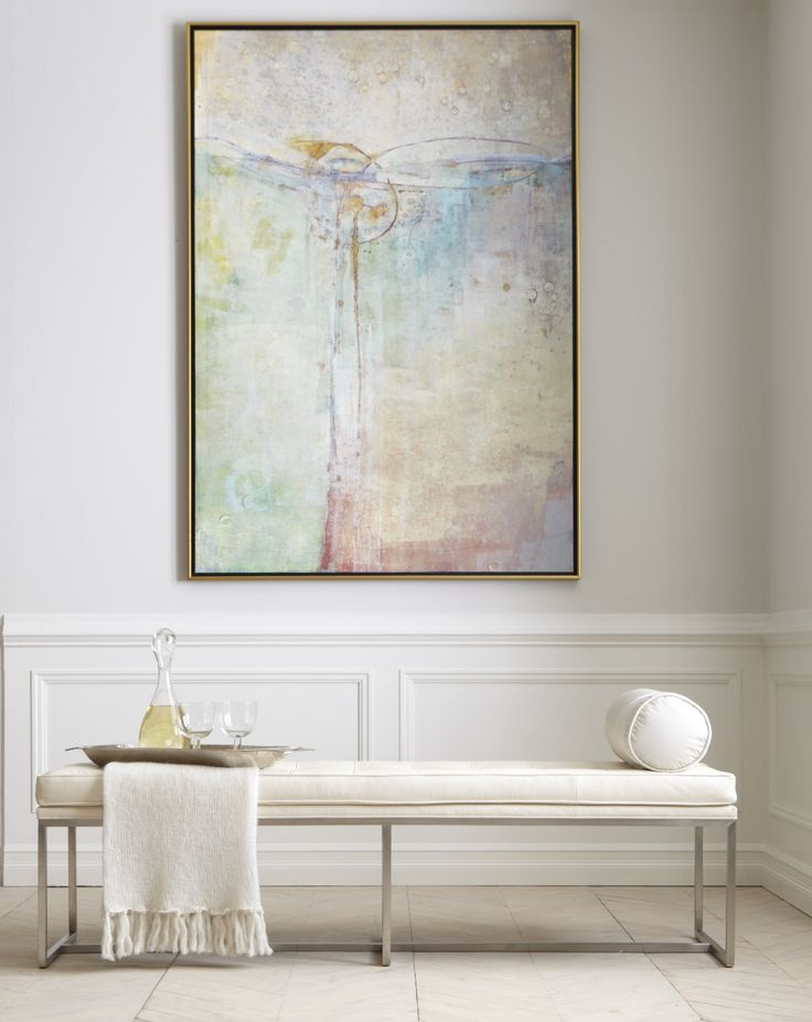 Large Watercolor or print over a (more rustic style) bench - wall facing the kitchen???