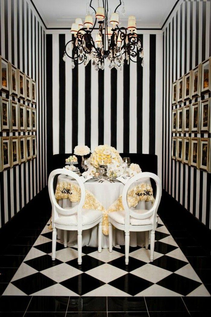 Le carrelage damier noir et blanc en 78 photos Papier peint pour salon et salle a manger