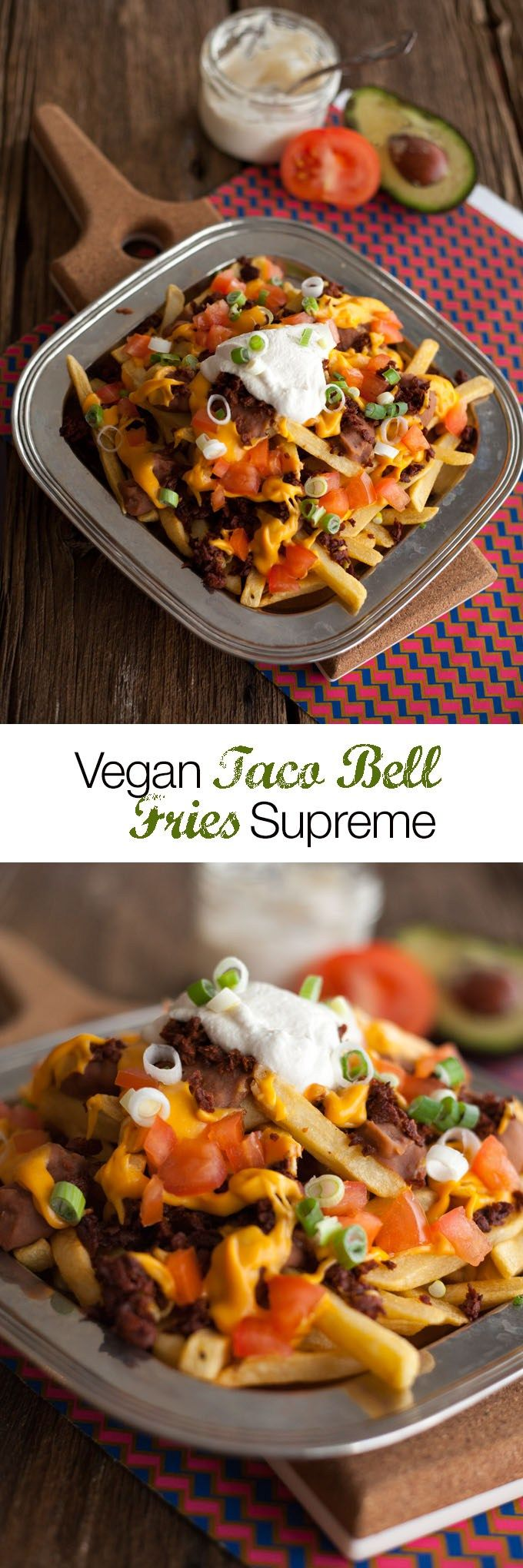 Fries Supreme is a delicious dish served at Taco Bell restaurants. These amazing vegan fries are covered with seasoned vegan ground beef or chorizo, warm zesty nacho cheese sauce made of carrots and potatoes, diced ripe tomatoes, green onions, and cool vegan sour cream. VEGAN
