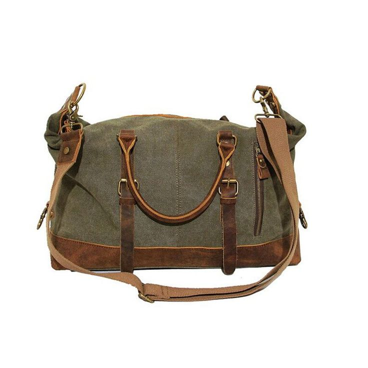 This vintage canvas duffle bag is made primarily of high-quality military canvas, combined with a vintage style crazy horse leather. This vintage canvas duffle bag big enough to carry almost anything your mind can think of and would be perfect for travel or for any other daily use.