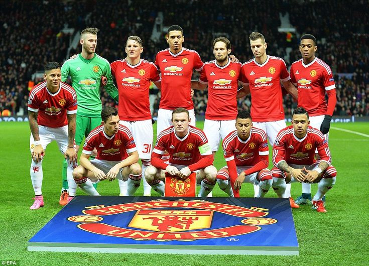 The Manchester United XI line up for a team photo ahead of their crucial Champions League group B clash on Wednesday
