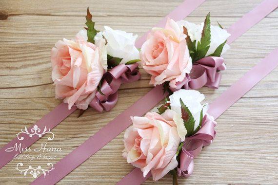 Blush rosa rosa ramillete de la muñeca ramillete de Dama de
