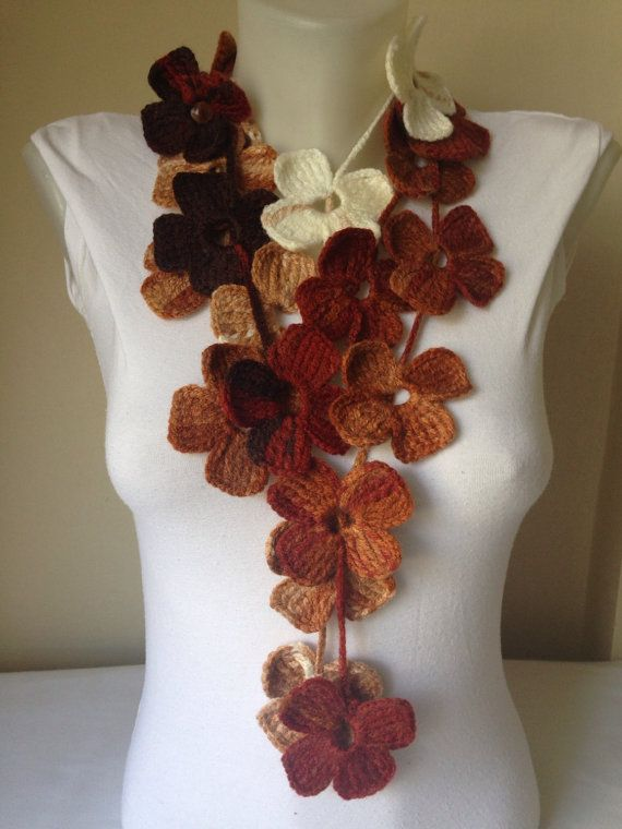 Floral Scarf in Brown and White by Yellowcrochet on Etsy