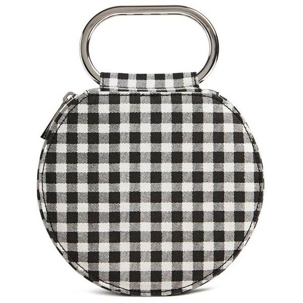 Forever21 Round Gingham Clutch found on Polyvore featuring bags, handbags, clutches, white clutches, zipper purse, top handle handbags, top handle purse and zip handbag